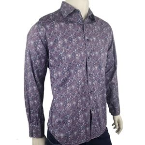 Guy Laroche Purple Floral Casual Shirt Size Large